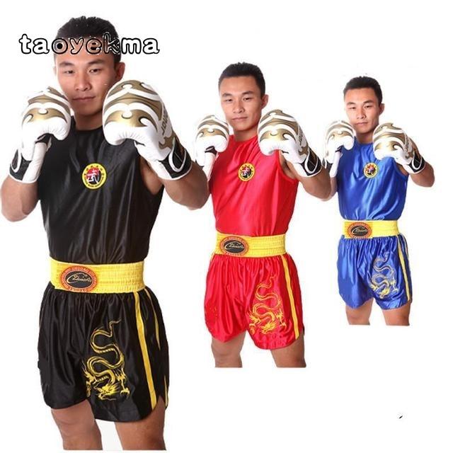 Kids Kick Boxing Uniforms Tank + Shorts MMA Muay Thai Boxing Suits Man Sanda Kungfu Wushu Suits Kids Boxing Wushu Clothes