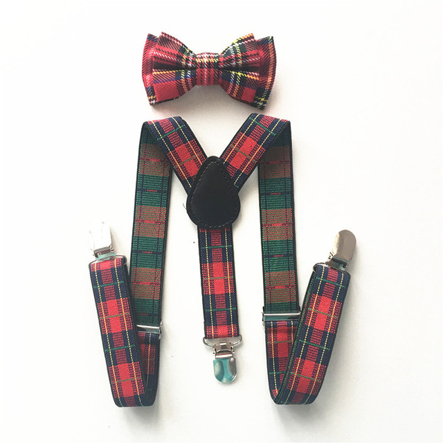 6ac57b2dc Caliente de los niños niño es Escocia cuadros pajarita tirantes espalda Y tirantes  elástico ajustable correas