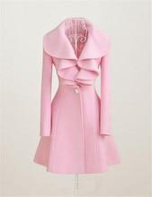 Новый 2015 Abrigos Mujer Корейский Стиль Моды Пальто Женщин Дамы Элегантный Slim Fit Falbaba Шерстяное Пальто Длинное Платье Верхняя Одежда A660