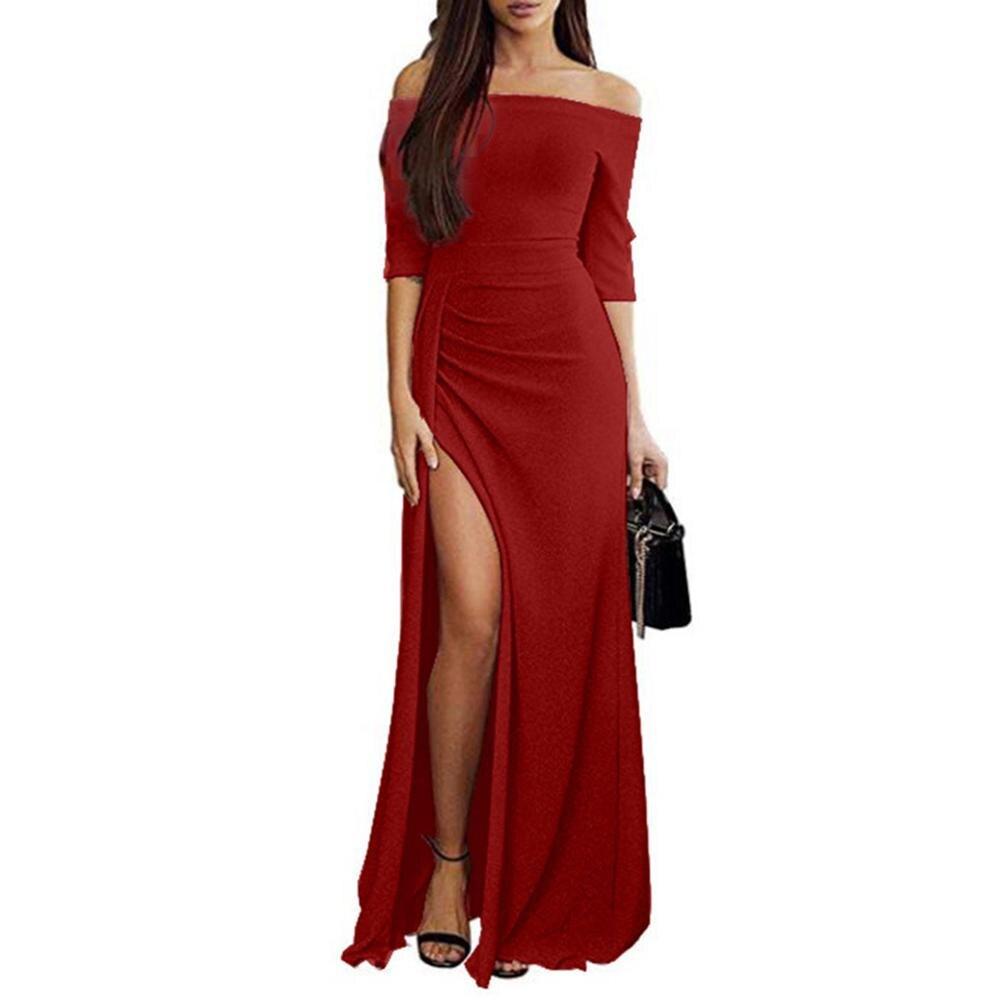 f0f9cc45a1 Fiesta de noche de las mujeres Sexy hombro alta hendidura Maxi vestido  brillante Bodycon vestido