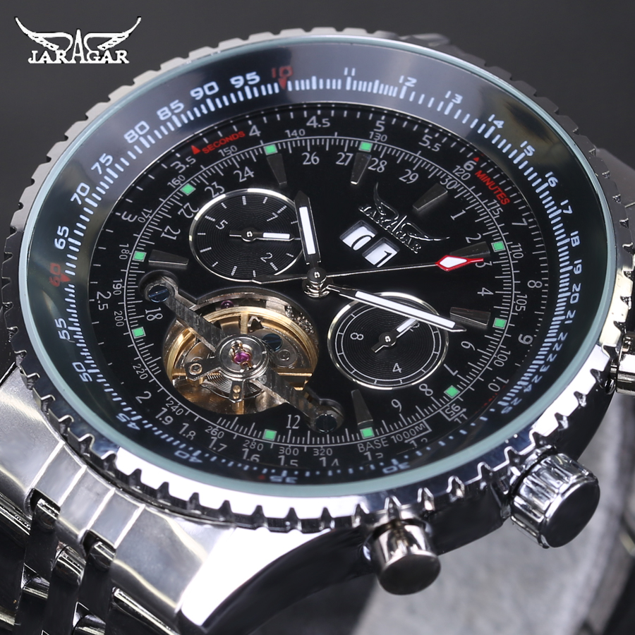 Men Watch Luxury Brand Jaragar Tourbillon Automatic Mechanical Watches Multifunction Men Watch Full Stainless Steel Montre Homme mens watches top brand luxury automatic mechanical tourbillon watch men luminous stainless steel wristwatch montre homme