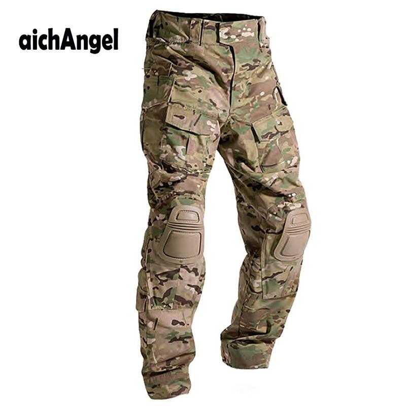 Pantalones tácticos militares de camuflaje Multicam, pantalones de uniforme Militar de ejército, pantalones de combate Cargo de Paintball de rana con rodilleras
