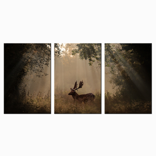 Wild Animal Deer In Fall Canvas Sun Rays Through Forest Poster Home Decor Wall Art Prints Hd Picture 3 Panels Murals