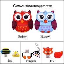 USB flash drive cartoon animals pen 4GB 8GB 16GB 32GB 64GB fox/bee/owl/penguin memory stick creative gift pendrive usb cle