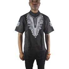 Black Abstract Goat Embroidered Men`s Ethnic Tops Male Wedding Wear Dashiki Shirts