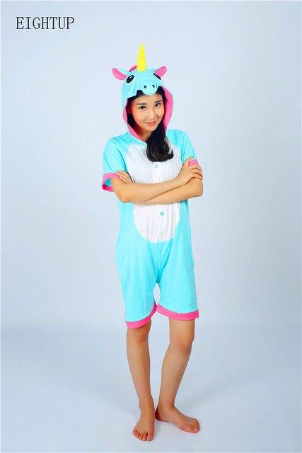 04628425fa65 Adult Cotton Summer Unicorn Onesie Pajamas Kigurumi Sleepsuit Unisex Animal  Onesies Costumes Short Sleeve Sleepwear Cosplay