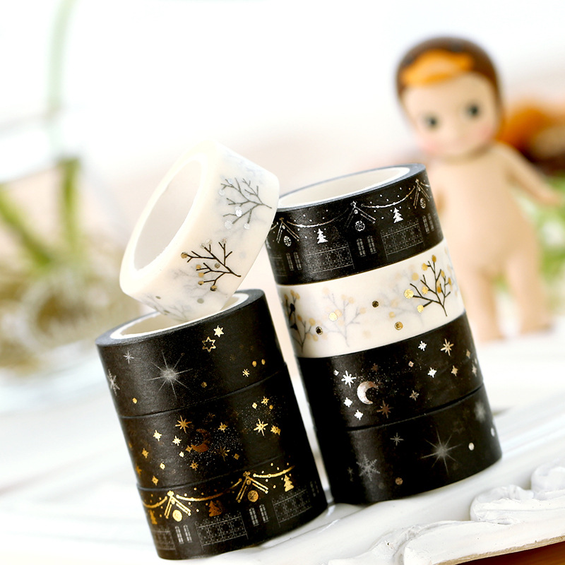 5M Long Gold and Silver Foil Paper Stickers Washi Masking Tape Kawaii Decoration Adhesive Tapes for Christmas Diary Decorative in Office Adhesive Tape from Office School Supplies
