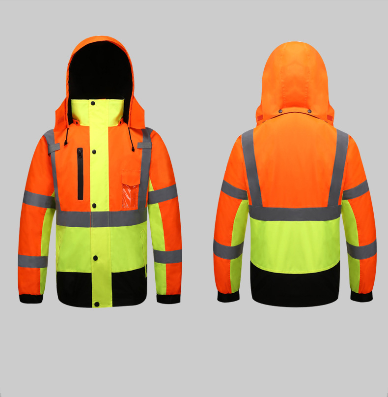 Image 3 - Autumn/Winter Reflective Clothing High Visibility Waterproof Windproof Bomber Jacket Safety Workwear Clothing for Road Traffic-in Safety Clothing from Security & Protection