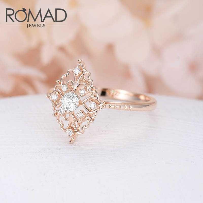 ROMAD Retro Hollow ดอกไม้เพชรผู้หญิงวงแหวนหรูหรา Rose Rose ดอกไม้รูปร่างแหวน Rngagement แหวนเครื่องประดับ anillos