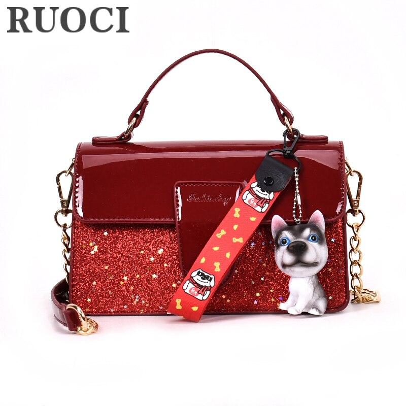 RUOCI lentejuelas lindo perro borla de charol bolsos de las mujeres - Bolsos