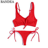 BANDEA Solid Bikini Set Bandeau Swimwear Women Brazilian Swimsuit Thong Bikini Bottom Biquinis Feminino Swimming Suit