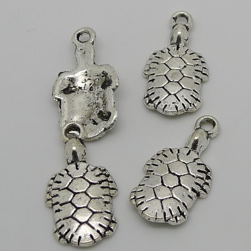 Free Shipping Wholesale 10pcs Tibetan Silver Lon Life Sea Turtle