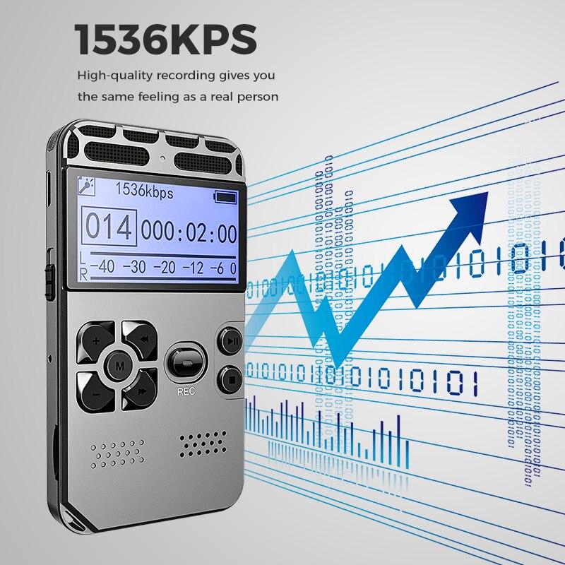 Enregistreur vocal numérique caché Dictaphone registraire MP3 HIFI stéréo 1536KPS enregistrement WAV réduction du bruit activé par la voix V35 - 6