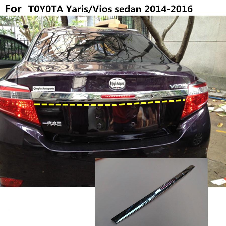 For Toyota Vios/Yaris sedan 2014 2015 2016 car panel ABS chrome Rear door trunk tailgate frame plate trim lamp 1pcs(with light)