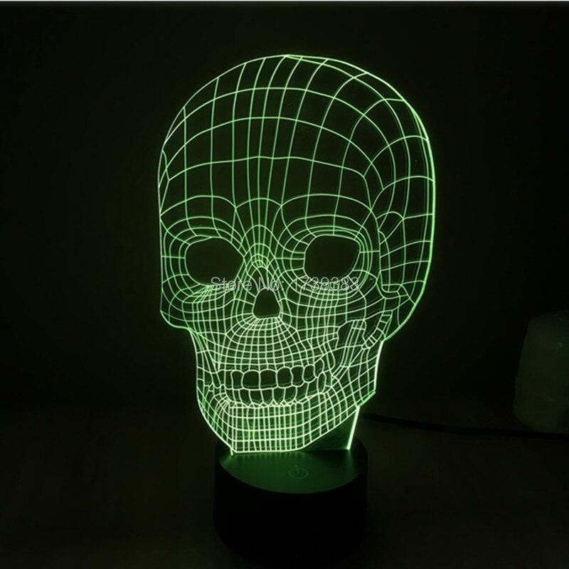 Бесплатная доставка сенсорный датчик красочные 3D череп глава из светодиодов ночные огни костями USB настольная лампа для ночного световой м…