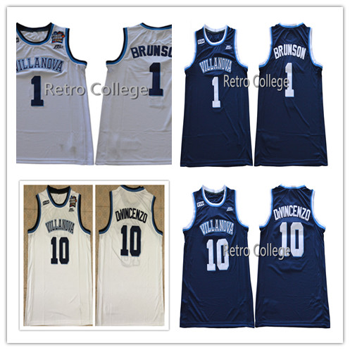 d563962a885e Villanova Wildcats  10 Donte DiVincenzo 1 Jalen Brunson 2018 Final Four  Champions Blue white College Basketball Jersey