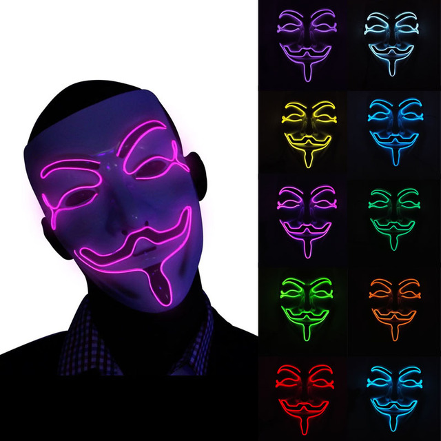 10 Optional Color Vendetta Light Up Glowing EL Wire Mask Battery Operated Cosplay LED Mask Costume  sc 1 st  AliExpress.com & 10 Optional Color Vendetta Light Up Glowing EL Wire Mask Battery ...