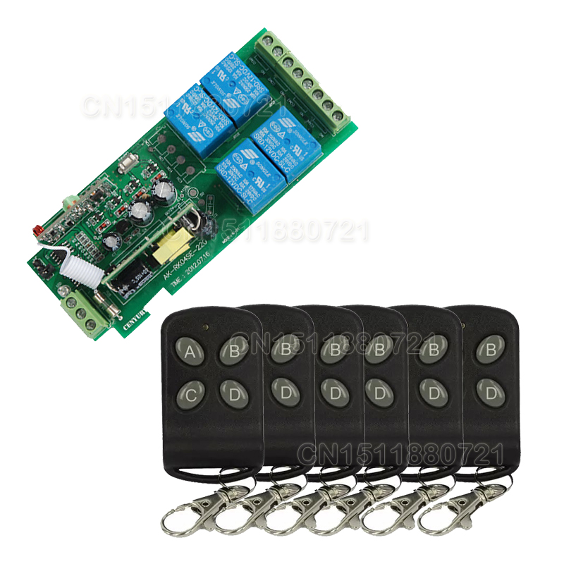 ФОТО  85v~250V 110V 220V 230V 4CH RF Wireless Remote Control Relay Switch Security System Garage Doors, Gate Electric Doors