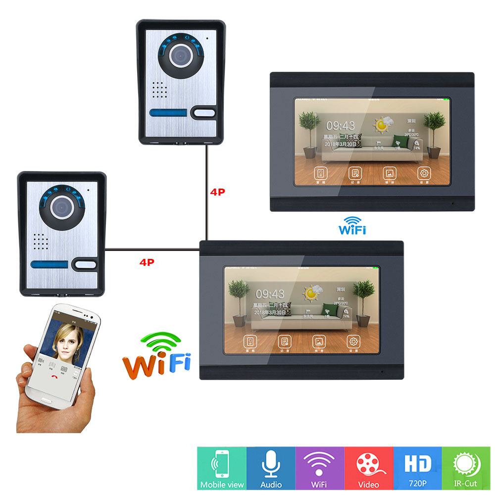 2 Monitor 7inch Wired/Wireless Wifi Video Door Phone Doorbell Intercom Entry System With 2xHD IR-CUT 1000TVL Camera Night Vision