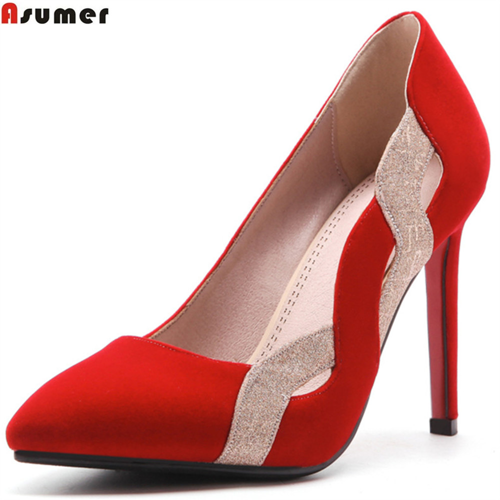 ASUMER fashion spring autumn new 2018 pumps shoes pointed toe shallow elegant wedding shoes women high heels shoes 2017 free shipping siketu spring and autumn women shoes fashion high heels shoes wedding shoes pumps g174 summer sandals