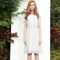 Women Summer Fashion Short Sashes White Red Animal Print Ken Length Casual Cute Line A Dress