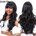26'' Long Curly Black Wig Best Synthetic Wigs For Black Women Cheap Hair Wigs For Women Natural Black Curly Wigs With Bangs