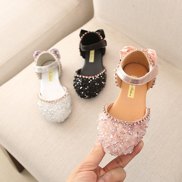MUQGEW ChildrenInfant Kids Baby Girls Bowtie GOOK&LOOP Princess Sandals CasualRhinestone Shoes children girls summer shoes