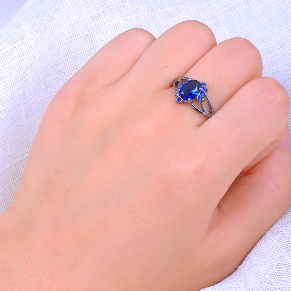 Blue Oval Zircon Stone Rings For Female Male Black Gold Filled ...