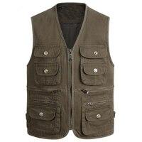 Middle aged Mens Vest Outwear Vest Coats Spring Denim Jean Vest For Men Muti pocket Dad Cowboy Waistcoat Mens Work Vests S258