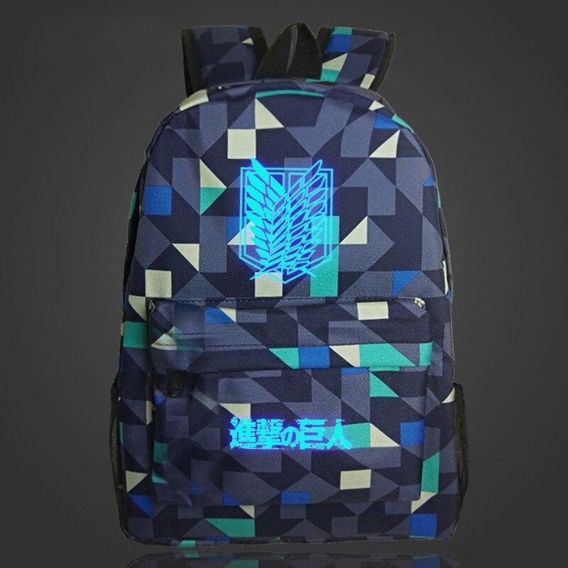 Cosplaylegend Attack on Titan School Bags For Teenagers Mens Backpack Night Lights bag