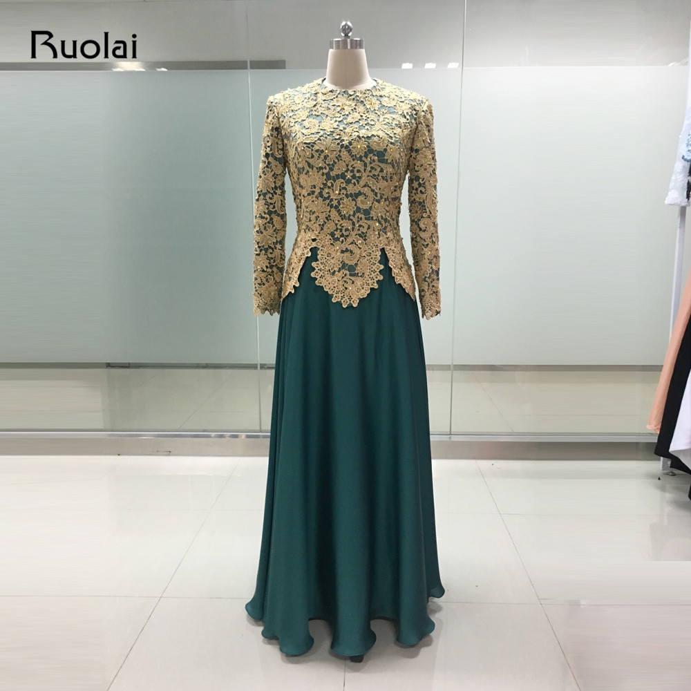 Custom Made Elegant Robe de Soiree Dubai Golden Appliques Beaded Long Sleeves Muslim   Evening     Dresses   2017 Prom Party Gown MP01