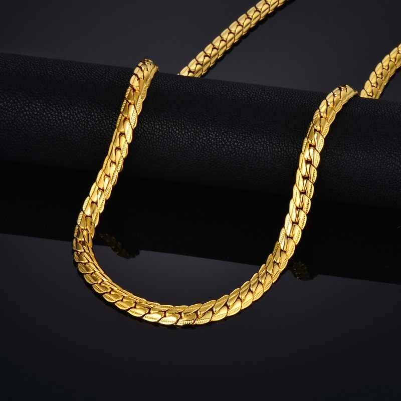 "Vintage 20"" 22"" 25"" Male Gold-Color Necklace Mens Gold Snake Chain Necklace For Men Golden Necklaces Wholesale 2018"