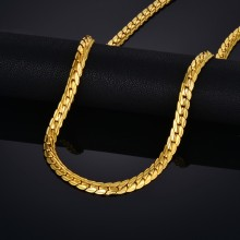 Vintage Flat Snake Chain Necklaces Male Gold Color Stainless Steel Golden Neck Chains For Men Punk Jewelry Dropshipping XL681
