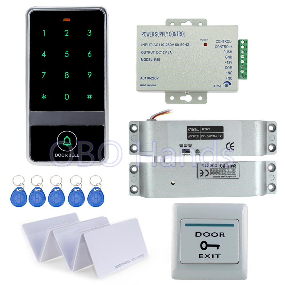 ФОТО RFID digital door lock touch access control system C60+electric drop bolt lock+3A/12V power supply+exit button+10pcs key cards