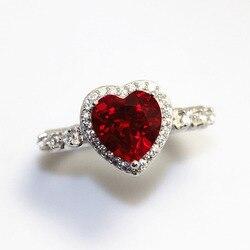 Forma de Coração vermelho Rubi Pedra Preciosa Esterlina 925 Anéis De Casamento De Prata Para As Mulheres Fine Jewelry Engagement Bague Acessórios de Noiva