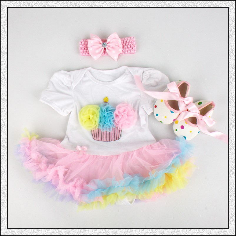 Baby Rompers 3PCs Dětské oblečení Sada Baby Girls Rainbow Cupcake Narozeniny Tutu šaty Jumpersuit Čelenka boty