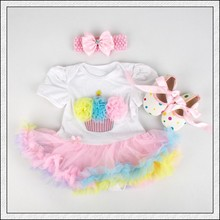 Baby Rompers 3PCs Infant Clothing Set Baby Girls Rainbow Cupcake Birthday Tutu Dress Jumpersuit Headband Shoes
