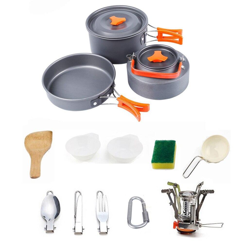 Portable 2-3 personnes ustensiles de cuisine bol Pot cuillère pour Camping en plein air randonnée sac à dos voyage vaisselle pique-nique accessoires