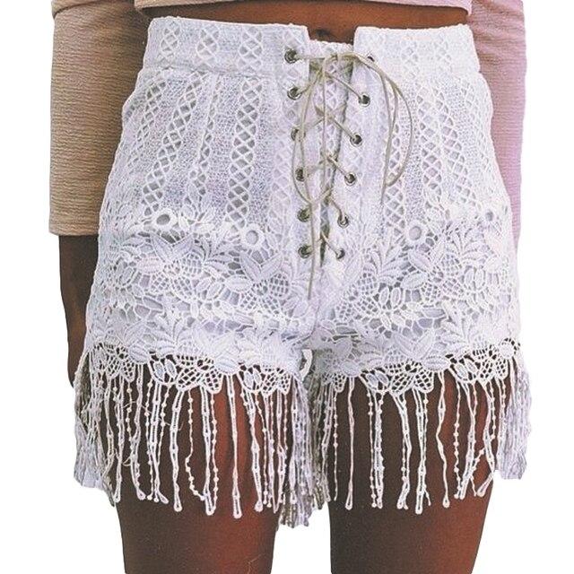 € 10.5 |Pantalones Cortos de Encaje blanco Mujeres Moda de Cintura Alta de La Borla Del Dobladillo Ata Para Arriba Cortocircuitos Del Verano de Las