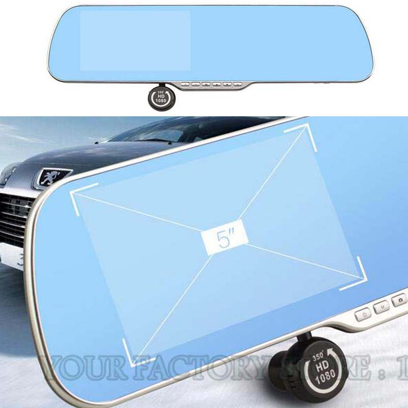 Dual lens 5.0 IPS Touch Android 4.4  Rearview Mirror DVR GPS Navigation Rearview Mirror Video Recorder HD 1080P Automobile DVR gps навигатор lexand sa5 hd