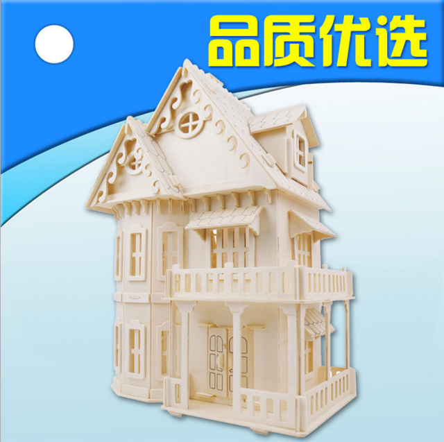 Delightful High Quality 3D Stereo Puzzles Gothic DIY Houses Basswood Building  Simulation Model Creative Gifts Free Shipping