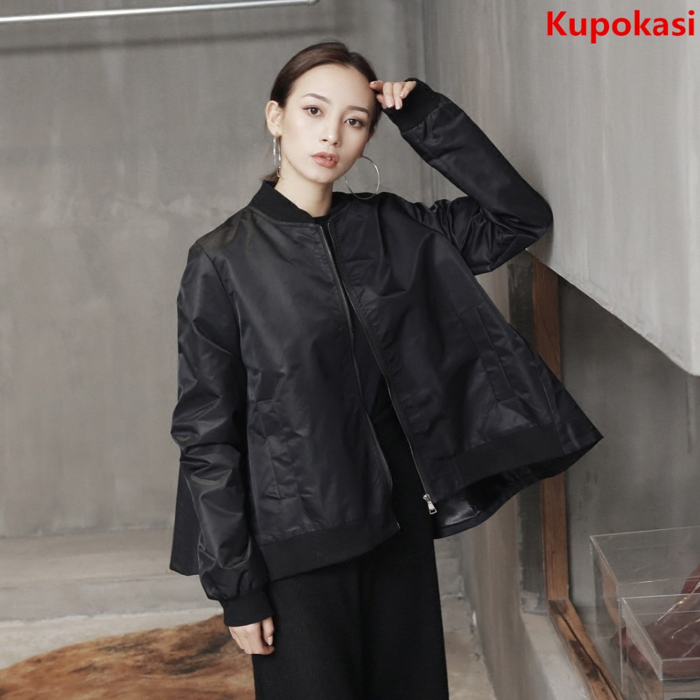 Black Casaco Feminino Bomber Leather Hooded Jacket Windbreaker Female Coat Cardigan Irregular Tops 2017 Autumn Clothing