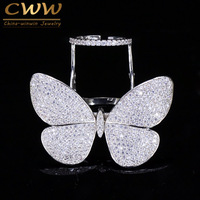 CWWZircons Luxury Cubic Zirconia Micro Paved Big Movable Rings CZ Fashion Butterfly Shape Women Party Jewelry