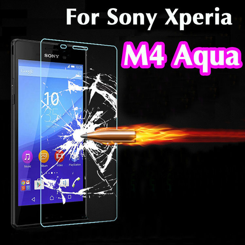 M4 0.26mm 9H 2.5D Retail Box Explosion-proof Tempered Glass For Sony Xperia M4 Aqua Premium Screen Anti Shatter Protector Film