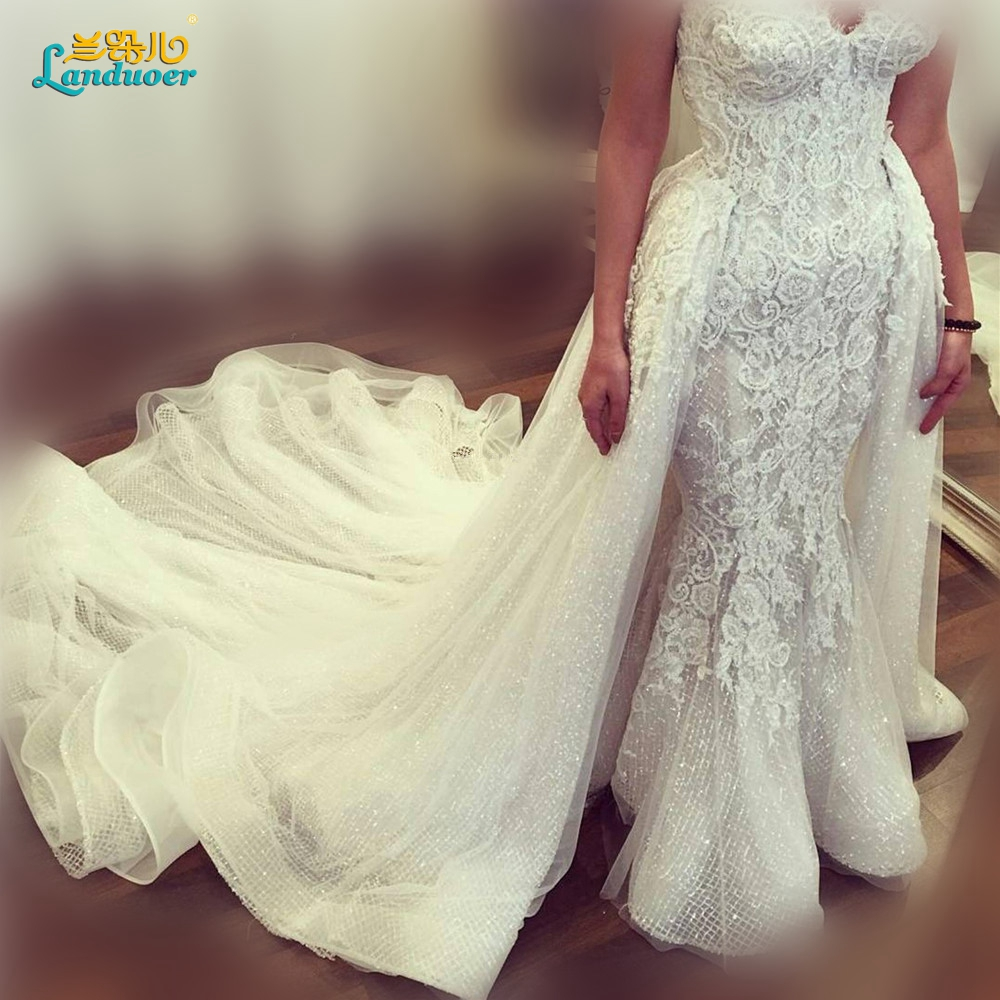 Beaded Wedding Dress With Detachable Train: 2016 Lace Beaded Mermaid Wedding Dresses Detachable Train