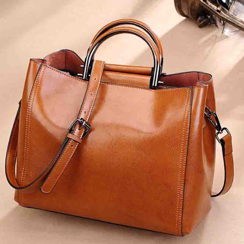 Large Genuine Leather Women Shoulder Bags Female Big Handbags Fashion Designer Office Retro Bag Ladies Hand Bags for women 2019