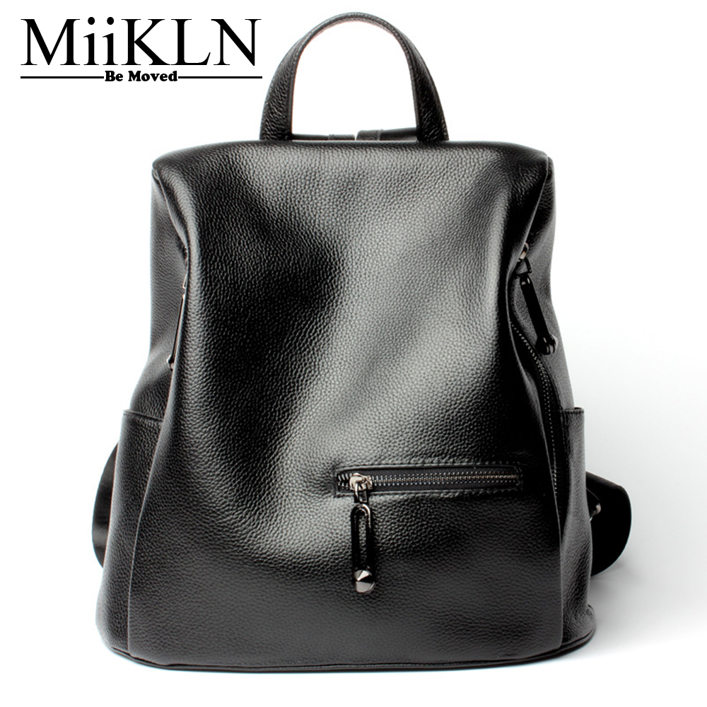 MiiKLN Black Small Genuine Leather Women Backpack Cow Leather Female Mini For Ladies Teenage Girls 2017 Fashion Design fashion design women backpack leather star rivet black female youth satchel