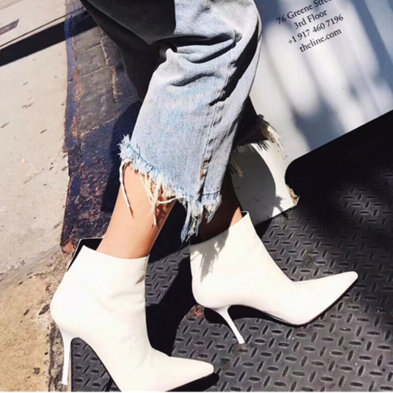 New Black White Genuine Leather Women Ankle Boots Stiletto High Heel Pumps Ladies White Martin Boots Pointed Toe Handmade Shoes биде напольное roca meridian n 357244000