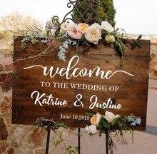 Свадебные приветствуются виниловые наклейки на стену, плакат персонализированные названия крещения и даты наклейка зеркальная доска простой свадебный Декор N002