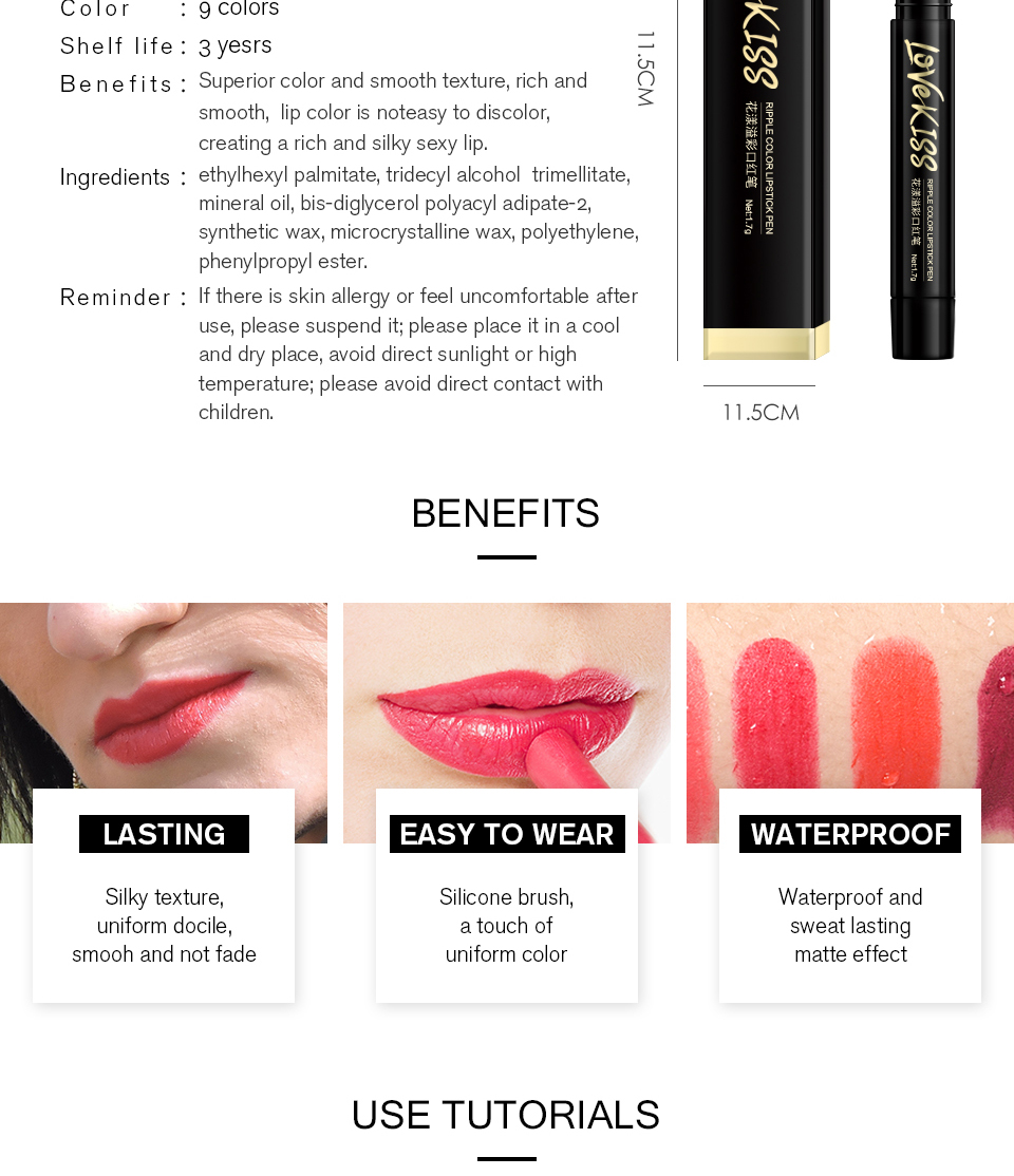 Nude Sexy Lipstick red Lipgloss Long lasting Pigment Matte Lipstick Women Fashion Makeup Cosmetic Valentine's GIFT private label 3